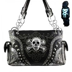 NEW Black Western Style Skull Head & Crossbones Concealed Gun Carrying Purse Black Shoulder Bag, Shoulder Purse, Concealed Carry Handbags, Concealed Handgun, Studded Handbags, Black Handbags, Metal Skull, Black Skulls, Skull And Crossbones