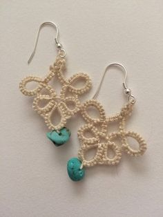 Tatted Earrings the Elyse beads