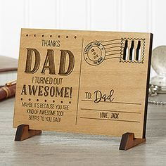 LOVE this unique Father's Day gift idea! It's an engraved wood postcard that you can personalize with any message! Such a great gift idea for the dad who has everything!