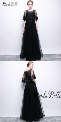 Modabelle black lace tulle Evening Dress A Line O Neck Floor Length Beaded Vestido  Longo Short 83807f8f9c1c
