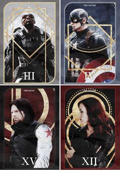 The Falcon - The Captain - The Ghost - The Assassin Tarot Cards