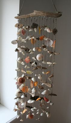 Items similar to Driftwood Sea Shell Mobile, Beach Wind Chime, Sea Shell Chime, Sea Shell Decor on Etsy Seashell Painting, Seashell Art, Seashell Crafts, Seashell Wind Chimes, Diy Wind Chimes, Carillons Diy, Home Crafts, Diy And Crafts, Seashell Projects