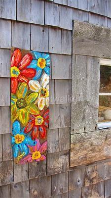 Mixed Flowers Barn Wood Painting Maine Abstract Folk Art Outsider Coastwalker