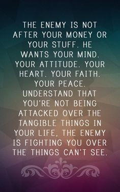 """Bottom line..., the enemy wants to take you out!  You are dealing with a pro that preys on your weaknesses and short fallings 24/7!  But..., the good news is..., we have way more power than the """"serpent of old""""!  Anytime you feel attacked, you can stomp him out in Jesus name!  Amen!? Peace Of Mind Prayer, Peace Of God, Prayer For Enemies, Word Of God, Spiritual Attack, Spiritual Warrior, Prayer Warrior, Spiritual Awakening, Spiritual Growth"""