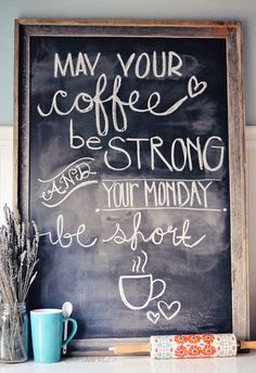 For Christmas this year my dad made me this oversized chalkboard for my kitchen! I saw this coffee quote on Pinterest and thought it would make for fun chalkboard art. I taught Sunday School this week, which also requires a strong cup of coffee because Scarlette is in my class, and one of the things I love …