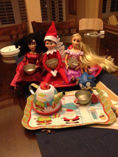 Elf on the shelf idea for boy and girl. Tea party :)
