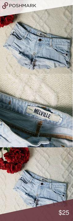Brandy Melville cut off shorts light daisy dukes Brandy Melville low rise cut off denim Jean shorts light wash size small Brandy Melville Shorts Jean Shorts