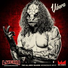 This deadly giant is ready to STRIKE! Watch Vibora on Wednesdays at ET on Lucha Underground, Apocalypse, Spiderman, Joker, Wrestling, Superhero, Instagram Posts, Fictional Characters, Wwe