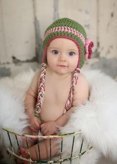 earflap crochet hat with stripes