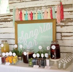 sangrai bar shower ideas, beverage stations, rehearsal dinners, wedding showers, wedding drinks, sangria bar, drink stations, parti, bridal showers