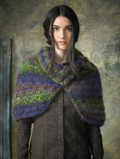 Delight - Knit this ladies accessory collared shawl from The Amore Collection. A design by Lisa Richardson using Kidsilk Amore, a multi strand chain c...