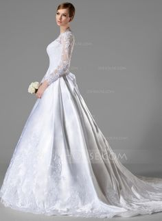 Ball-Gown V-neck Chapel Train Satin Wedding Dress With Ruffle Appliques  Lace Bow(s) (002004745) 78f515c1346e