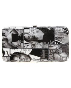 Keep your cash safe and stylish with the Photo Print Hard Wallet by La Pearla. This eclectic piece boasts a printed patent upper with dimensions measuring 18 x 10 x 1.5 cm. This inside showcases compartments to hold your notes, cards, coins and a photograph. Black and white in colour, this purse displays a printed graphic depicting a collage of Vogue covers fronted by Beyonce Knowles, Kate Moss and Daniel Craig. Ideal for the stylish woman, this wallet promises to house all of your ... Purse Display, Vogue Covers, Daniel Craig, Beyonce Knowles, Kate Moss, South Africa, Wallets, Coins