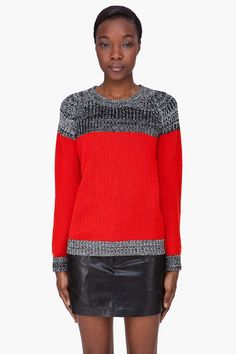 THAKOON Red Combo Cashmere Sweater
