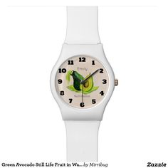 Green Avocado Still Life Fruit in Watercolors Wristwatch. Personalized with your recipients name and profession or other text.