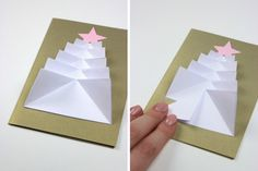 Tree Christmas card different size paper 8 to 4 cm fold in half and fold sides, fit together and glue in place. Add star.