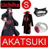 Naruto cosplay costume Set for Uchiha – Akatsuki Cloak(S) + Akatsuki Itachi Uchiha ring + Uchiha Itachi headband (black)-Anti Leaf village Real Reviews