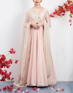 Check out our Pale Pink Anarkali Set by ABHINAV MISHRA available at Ogaan Online store at special price. Sparkling sequins, raw silk and zari work — Abhinav Mishra's new line in festive brights is absolutely lust-worthy Dress Indian Style, Indian Fashion Dresses, Indian Designer Outfits, Designer Dresses, Indian Wear, White Anarkali, Anarkali Dress, Simple Anarkali, Indian Anarkali