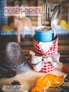 Dose mal aufgepimpt und angezogen als Dosen Dirndl, perfekt für den gedeckten Tisch ... pimp up the can and dressed them so qute für the table