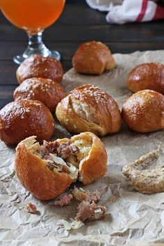 Bratwurst and Sauerkraut Pretzel Bites
