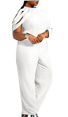 78796ea1b2a WSPLYSPJY Women s Sexy Chiffon Long Sleeve Plus Size Long Jumpsuit Plus Size  Jumpsuit