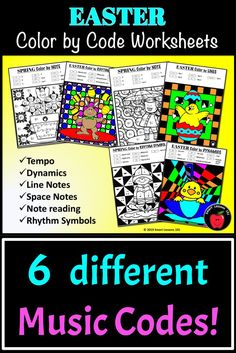 Distance Learning Easter Music Color by Code Worksheet Note Rhythm Dynamic Tempo Music Sub Plans, Music Lesson Plans, Music Lessons, Music Theory For Beginners, Basic Music Theory, Music Activities For Kids, Elementary Music, Elementary Education, Music Theory Worksheets
