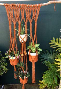Macrame hanging garden | 4 pot macrame plant hanger | Boho garden | Boho home interriors