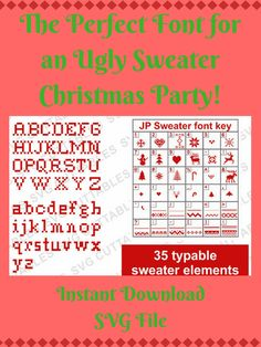 The perfect font for an ugly sweater Christmas party! Great for creating matching decorations, invites, favors and ugly sweaters! #cricut #SilhouetteCameo # #ad
