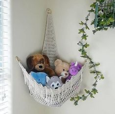 The Boho Corner Hammock is a fun, beautiful and functional storage solution. You can use it to hold your yarn stash, stuffed animals for your kids' room, whatever you need to hang away! Stuffed Animal Net, Stuffed Animal Hammock, Storing Stuffed Animals, Stuffed Animal Storage, Diy Stuffed Animals, Stuffed Animal Organization, Table Lego, Art Hama, Ideas Dormitorios