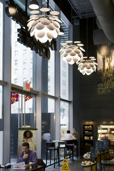 Marset - Discocó pendant lamp by Christophe Mathieu at the Madison Avenue Starbucks in Manhattan, New York. Lighting for restaurants