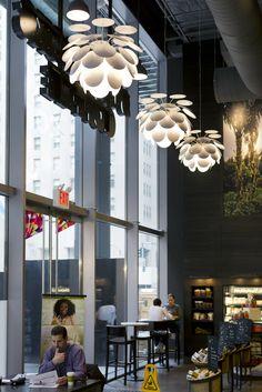 Marset - Discocó pendant lamp by Christophe Mathieu at the Madison Avenue Starbucks in Manhattan, New York. Lighting for restaurants
