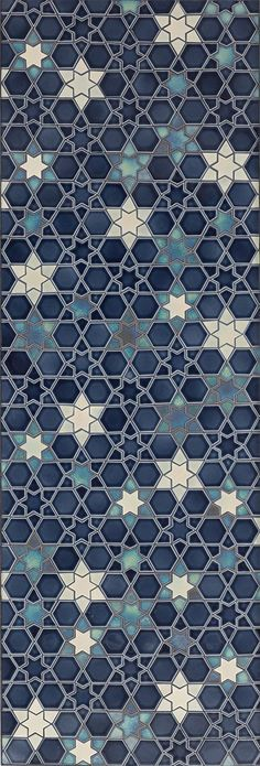 Blue gradient and white hues zellige pattern. Tis intricate stars mosaic is a modern interpretation of the ancestral islamic art of Zellige. Islamic Patterns, Tile Patterns, Pattern Art, Textures Patterns, Pattern Design, Print Patterns, Islamic Designs, Geometric Patterns, Crochet Pattern