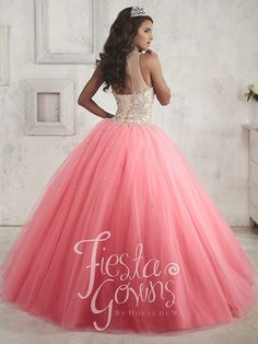 A gorgeous full tulle ball gown spangled by tiny sequins. Features a bodice covered in chunky beadwork and an illusion neckline trimmed with beads. Tulle Balls, Tulle Ball Gown, Ball Gowns, Sweet 16 Dresses Gold, Rose Gold Quinceanera Dresses, Coral Skirt, Teal And Pink, Gold Dress, Home