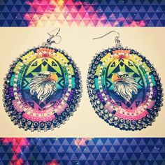 """Neon Eagle #BeadedEarrings ♡ $35 + Shipping ♡ #DaisysBlissBoutique ♡"""