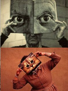 Charles Eames holding up a magazine featuring a photograph of Pablo Picasso's eyes and Ray Eames holding up a picture of a cat's eyes, but you knew that!