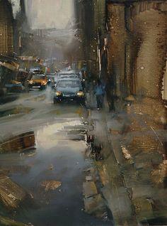 Down the Street by Tibor Nagy Oil ~ 16 x 12