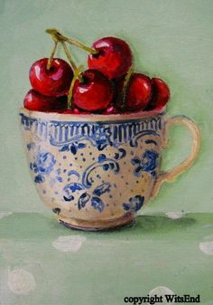 Blue and white cup of red cherries painting...cerises dans une tasse