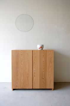 074 | 01_Resize standard furniture Plate side cabinet : W850  D420  H850  / Solid ash  oil finish