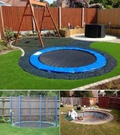 AWESOME backyard playground design. Creative in ground trampoline. Swings.