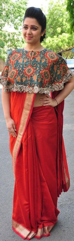 Pinterest @Littlehub || Six yard- The Saree ❤•。*゚ || Cape inspired saree.