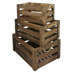 Set of 3 Vintage Farm Shop Style Wooden Slatted Apple Crate Storage Box Display