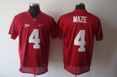 Crimson Tide #4 Marquis Maze Red Embroidered NCAA Jersey prices USD $21.50 #cheapjerseys #sportsjerseys #popular jerseys #NFL #MLB #NBA