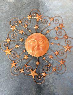 Metal Sun Wall Decor, Rustic Orange Decor, Decorative Sun and Stars, Nautical Wall Art, Texas Star