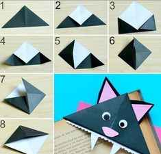 If you are looking for a fun craft to make for Halloween or are just a cat lover these somewhat scary cat corner bookmarks are a great thing to make! DIY corner bookmarks are a great origami for… Origami Bookmark Corner, Bookmark Craft, Corner Bookmarks, Bookmarks Kids, Bookmark Ideas, Handmade Bookmarks, Paper Crafts Origami, Paper Crafts For Kids, Easter Crafts