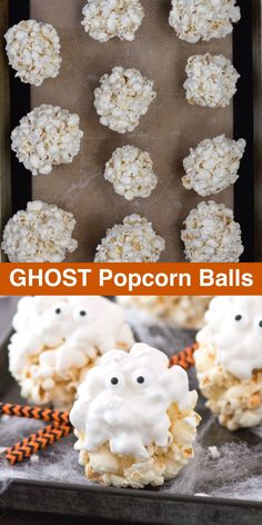 5 ingredient GHOST popcorn balls! Our family loved making this easy halloween treat! #halloweentreat #ghostpopcornballs #popcornballs #ghost