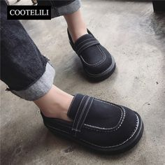 COOTELILI 35-39 Spring Casual Flats Women Shoes Solid Round Walking Ladies Shoes Shallow Slip-On Leisure British Style Loafers