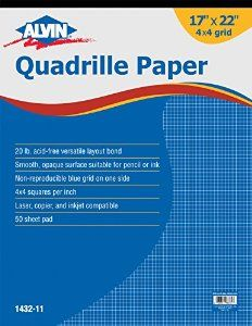 Amazon.com: Alvin Quadrille Paper Grid Pad, Size 17 x 22 Inches (1432-11): Office Products