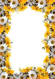 Flowery Wallpaper, Sunflower Wallpaper, Flower Background Wallpaper, Flower Backgrounds, Page Borders Design, Border Design, Borders And Frames, Borders For Paper, Frames Png