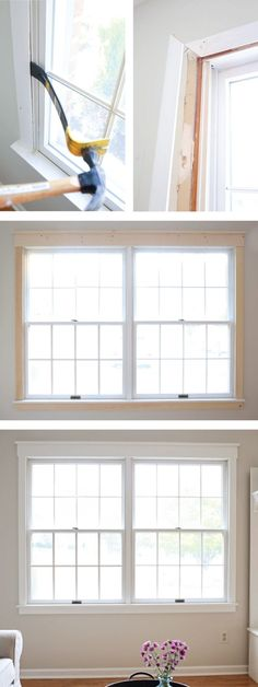 How to update old window trim with new classic and pretty window trim. A budget friendly project that easily upgrades a room!