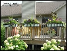 Deck flower boxes and balcony railing planters for sale online. Our deck rail brackets for rail planters convert any flower box! Create a hanging garden or backyard oasis with ease. Garden Stairs, Backyard Garden Landscape, Fence Landscaping, Modern Backyard, Backyard Fences, Backyard Ideas, Fence Garden, Modern Fence, Backyard Farming